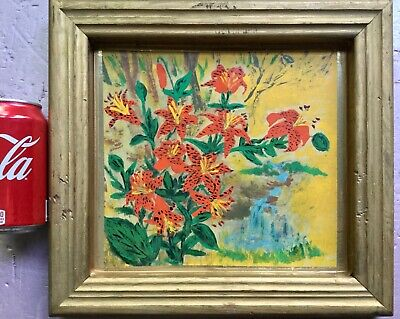 Vintage Primitive Painting of Tiger Lillies by MILA.