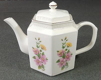 Arthur Wood England Hexagon Pink Floral Teapot Tea Pot EUC