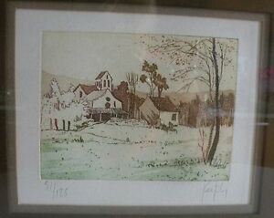 LITHOGRAPHIE NUMEROTEE SIGNEE PAYSAGE ENCADREE CADRE ALUMINIUM BROSSE OR - France - Type: Lithographie Thme: Paysage - France