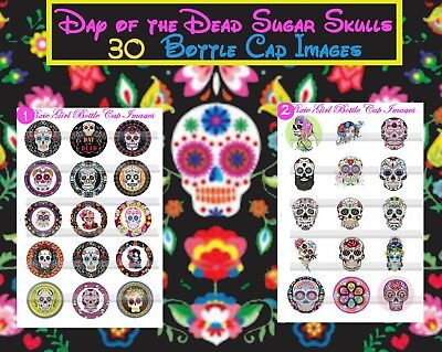 Sugar Skulls Day of the Dead All Souls Day 30 Precut Photo Bottle Cap Images