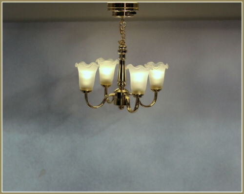 Dollhouse Miniature Battery Operated 4 Arm Ceiling Light with Frosted Shades