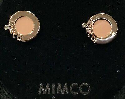 Mimco Static Stud Studs Earrings Porcelain & Gold New Authentic pouch