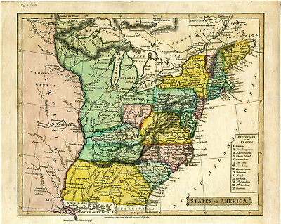 """1814 Genuine Antique hand colored map """"States of America"""". by John Russel"""