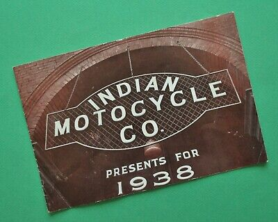 Original 1938 Indian Motorcycle Brochure Chief Sport Scout Junior Scout Four