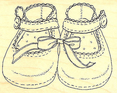 Baby Girl Shoes Wood Mounted Rubber Stamp Impression Obsession Stamp E6117 NEW for sale  Shipping to India