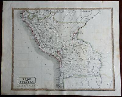 Peru & Bolivia South America Ecuador Lima Andes Mountains 1846 scarce map