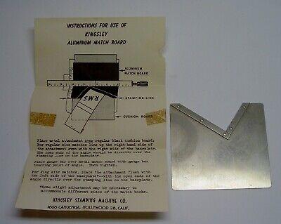 Kingsley Hot Foil Stamping Machine Matchbook Board Instructions Antique Tool