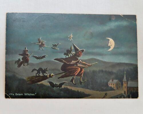 Vintage Halloween Postcard Witches on Broomsticks -  80634