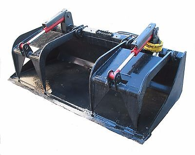 72 Inch Heavy Duty Solid Bottom Bucket Grapple Skid Steer Attachment
