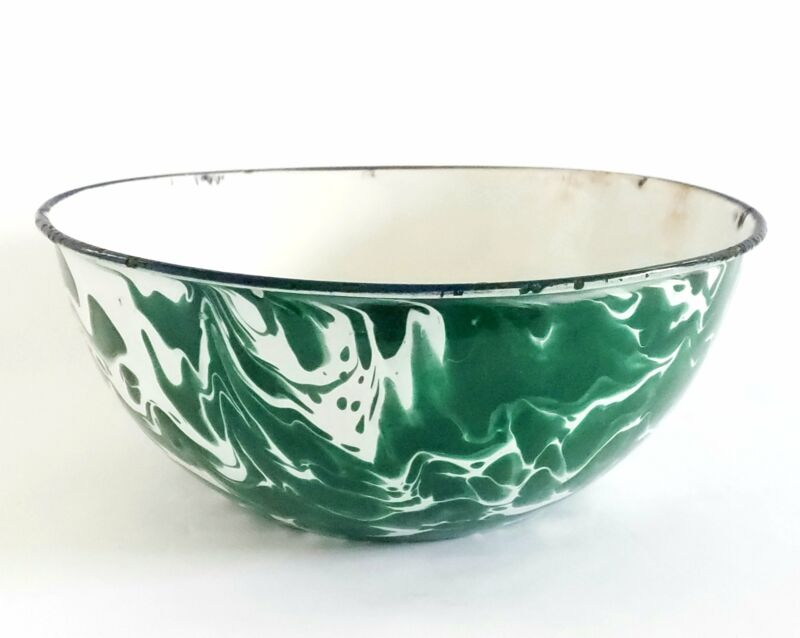 Antique Green and White Swirl Enamelware Mixing Bowl c. 1800-Early 1900