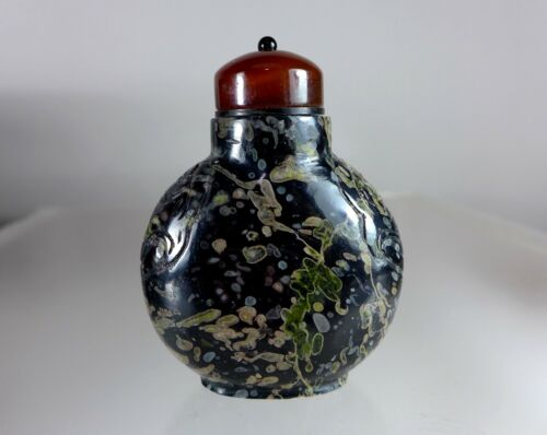 Antique Chinese AMYGDALOIDAL BASALT Snuff Bottle 1740-1880