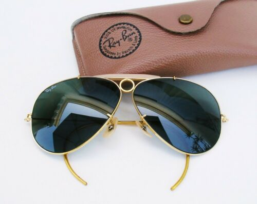 Vintage B&L Ray Ban USA Aviator Shooting  Shooter Wrap-Around  62mm   w/ Case