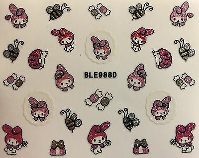 Nail Art 3D Decal Stickers Hello Kitty Bunny My Melody Bumble Bee Candy - Bumble Bee Candy