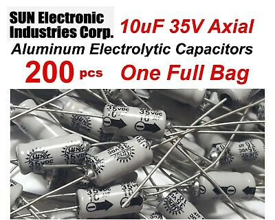 200 Lot Sun 10uf 35v Axial Electrolytic Capacitors 12 X 5.5mm Nos - Usa Ship