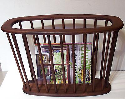 vintage MCM mid century walnut spindle magazine book rack holder large