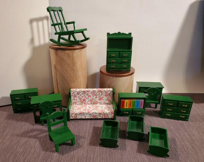 Vintage Sylvanian Families Green Furniture lot 1985-1986