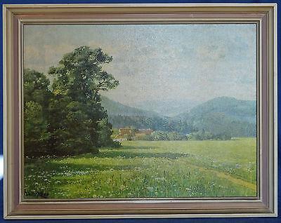 Walter Kopp Landschaftsbild Bauernhof Öldruck auf Karton gerahmt 45,5 x 35,5 cm