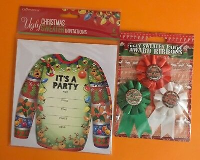 Ugly Sweater Christmas Party Invitations 8 Pieces w/ Envelopes Award Ribbons -