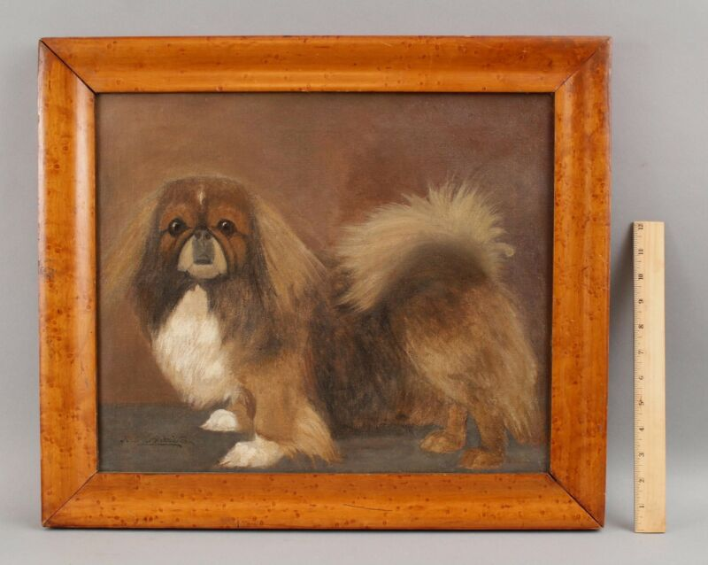 Antique RW Hamilton circa-1900 PEKINGESE Dog Portrait, American Oil Painting