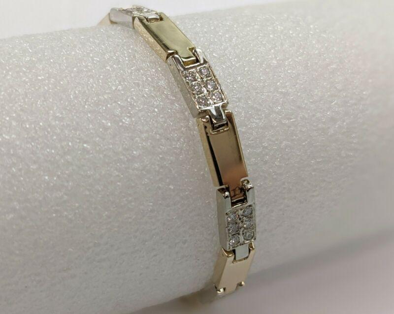 14K Yellow & White Gold 1 ctw Diamond Bracelet 7 inches