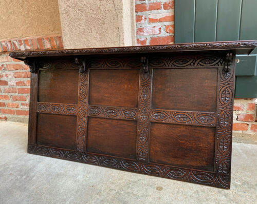 Antique English Carved Oak Wall Shelf Architectural Panel Mantel Hanging Decor