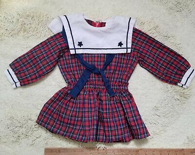 Vintage Little Girl Plaid School Girl Patriotic Plaid Sailor Dress Schoolgirl 2T