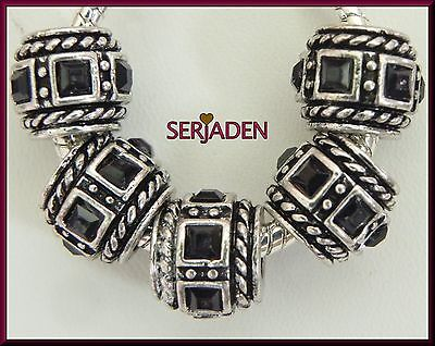 5 Black Square Beveled Stone Spacer Charms European Style 10*11 & 5 mm Hole R152