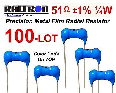 100-lot Raltron 51 Ohm 1 14 Watt Radial Precision Metal Film Resistor Usa Ship