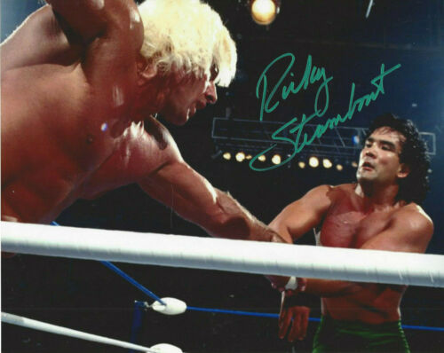 WWF LEGEND  Rickey The Dragon Steamboat  autographed 8x10 color photo
