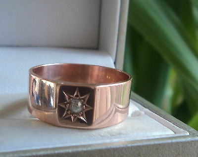 Vintage 9ct Rose Gold & Diamond Ring h/m 1918 Birmingham - size T