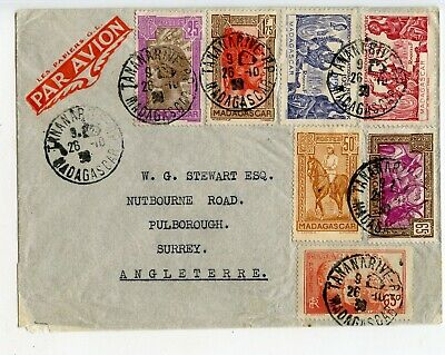 MADAGASCAR AIRMAIL COVER TO ENGLAND 1930, 7 ALL DIFF STAMPS              (B118)