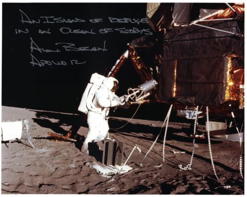 Alan Bean --  Apollo 12 Signed Lunar Surface Photo