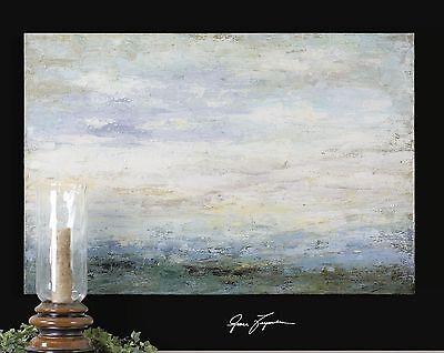 Ocean Serenity Coastal Oil Painting | Abstract Blue Modern Wall Art