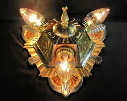 Art Deco Chandelier Lincoln `Marietta` 3 Light  Old Theater Gold Copper Silver