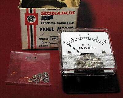 Vintage Monarch 10 Amp Dc Panel Mount Meter 1.75 Sq Face Nibnos Tests Good