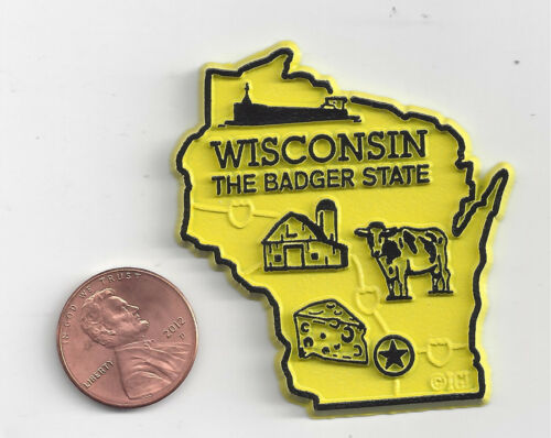 """WISCONSIN  """"THE BADGER STATE""""   OUTLINE MAP MAGNET  NEW   USA MADE"""