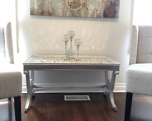 One of a kind hand painted vintage coffee table