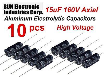 10 Lot Sun 15uf 160v Axial Electrolytic Capacitors 25mm X 10mm Nos - Usa Ship