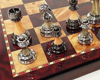 "Staunton Chrome & Black Pro Plastic Chess Men Set W 18"" Gloss Cherry Color Board"