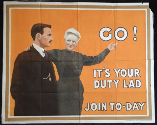 """Original WWI Recruitment Poster """"Go! It"""