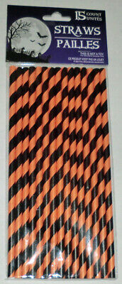 Halloween Party Orange & Black Striped Paper Straws Package of 15 - Halloween Party Packages