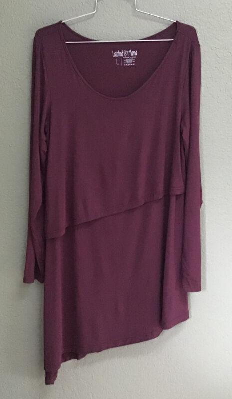 Latched Mama BURGUNDY Nursing Size L Asymmetrical Long Sleeve Shirt Top