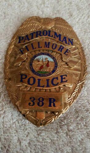 Vintage Obsolete Badge Patrolman Fillmore California. Hallmark Sun badge