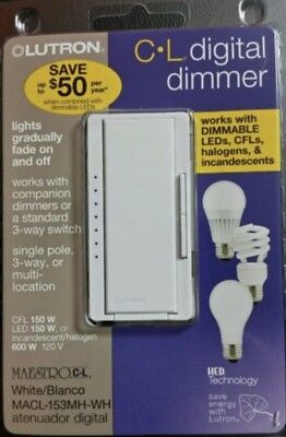 Lutron 3 Way Dimmer (Lutron Maestro CL Digital Dimmer White MACL-153MH-WH Single Pole or 3)