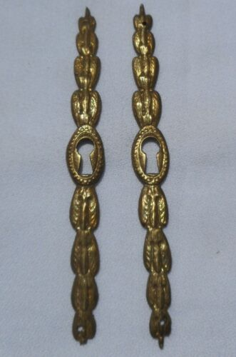Pair of Antique Brass Door Furniture Keyhole Key Hole Cover Plate Escutcheon