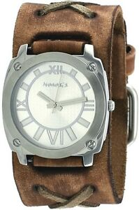 Nemesis BFXB066S Men's Light Brown Silver Dial Wide Leather Cuff Band Watch