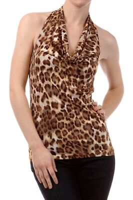Cowl Cowl Neck Halter Top (New Women's Juniors Cowl Neck Slinky Animal Print Club Party Night Halter Top)