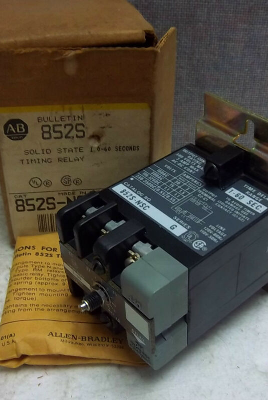 ALLEN BRADLEY SOLID STATE TIMING RELAY 852S-NSC SER. G NEW 852SNSC
