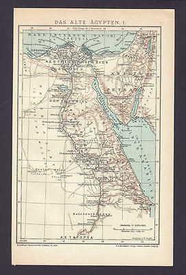 Das alte Ägypten I. und II., alte Landkarte mit Jahreszahl 1906