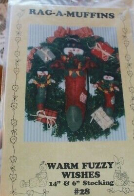 "Warm Fuzzy Wishes 14"" & 6"" Stocking #28 Rag A Muffins #28 Pattern"
